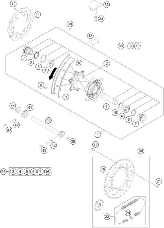 ROUE ARRIERE POUR TC 250 HQV 2014 (EU)