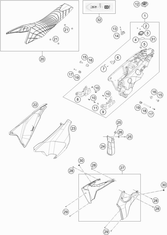 RÉSERVOIR, SELLE POUR 701 SUPERMOTO 2018 (US)